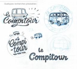 planche de recherches créatives - logo Compitour